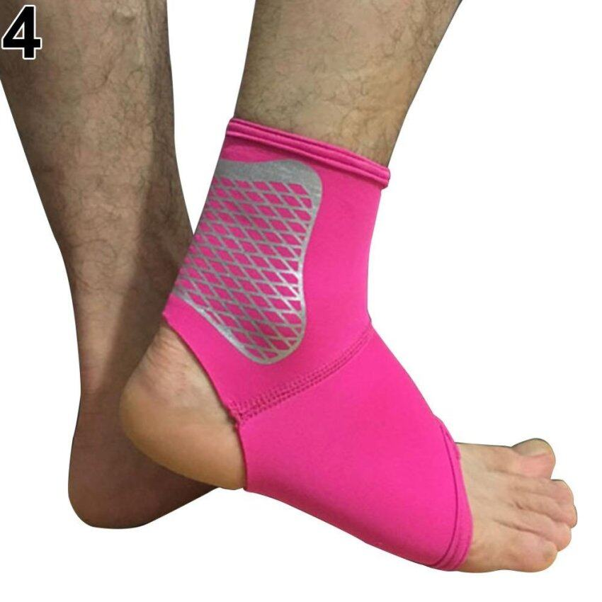 Sanwood Elastic Ankle Brace Protector Foot Wrap Support Guard Sports Sprain L (Rose Red) ...