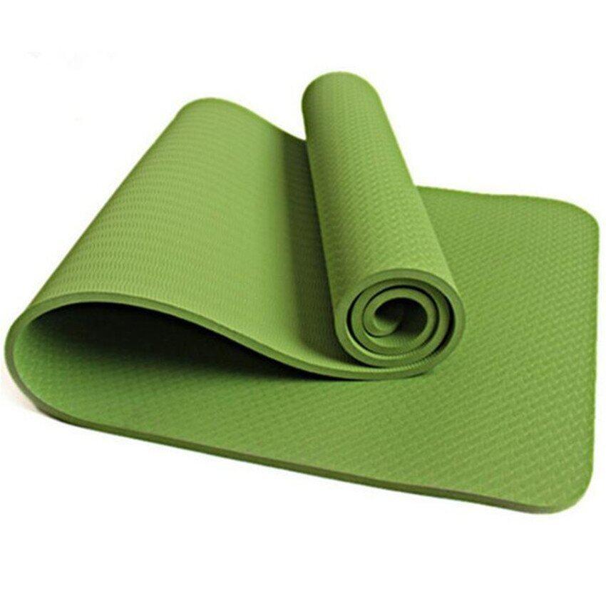 Slip Outdoor Sports Multifunction 6Mm Tpe Yoga Mat(Green) - intl .