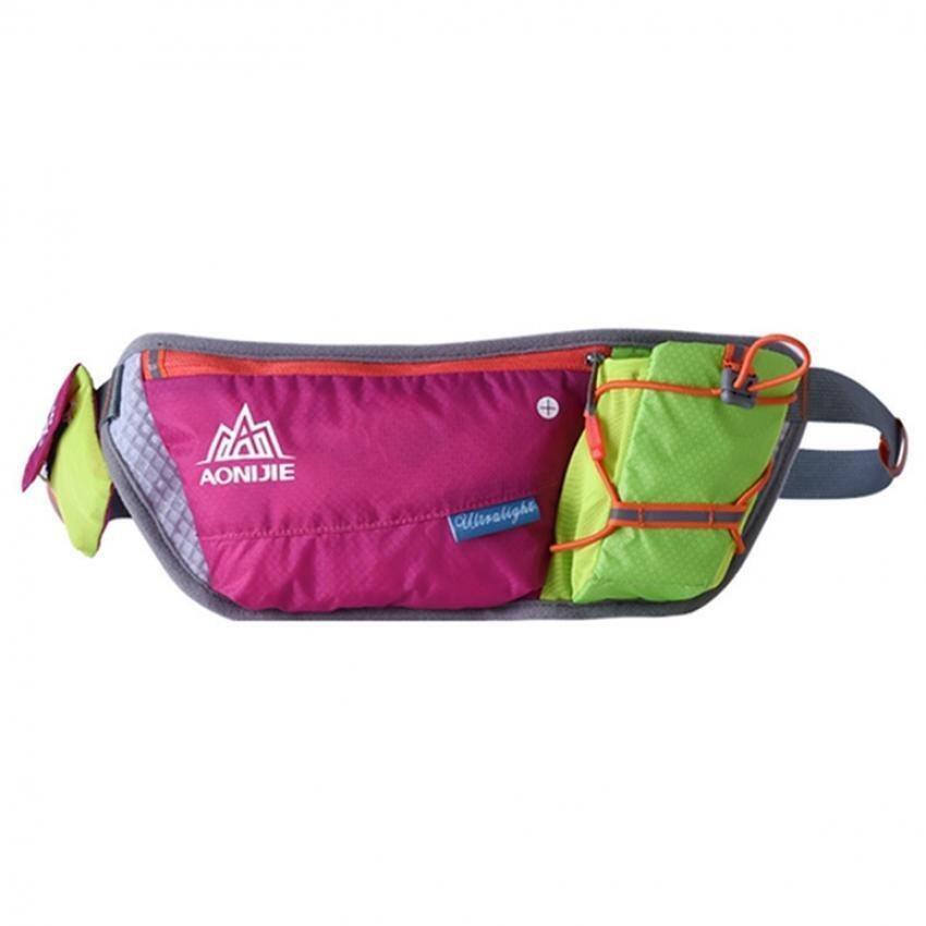 Sport Running Cycling Waist Pack Belt Bag Storage Pockets & Water Bottle ( Rose Red)