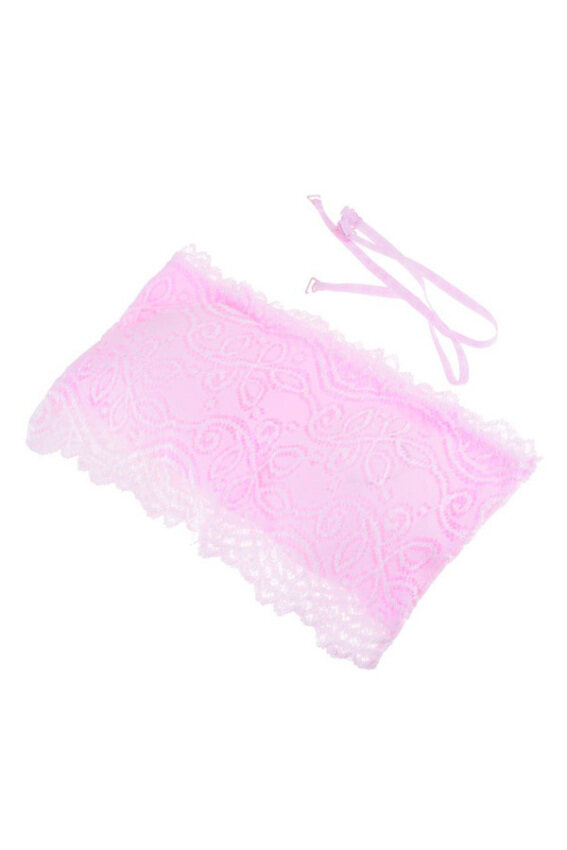 Strapless Bra Lace with Breast Pads (Pink) ...