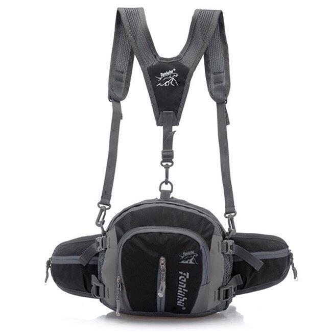 Tanluhu กระเป๋าเอี๊ยม ปั่นจักรยาน ผ้ากันน้ำ กระเป๋าคาดเอว รุ่น B01 (สีดำ)