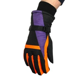 Winter Outdoor Sports Warm Windproof Ski Snowboard Skiing Riding Gloves for Women Color:Purple - intl