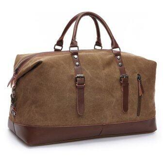 ZUO LUN DUO กระเป๋าสัมภาระ Canvas Leisure Bag ถือและสะพายไหล่ รุ่น 8655 (สีน้ำตาล)