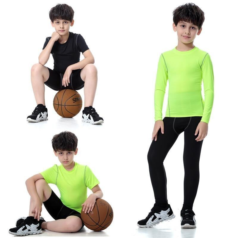2 Pieces Sorts Yong Boys Active Compression Baselayer Set(Long Sleeve T Shirts+Pants) Ye ...