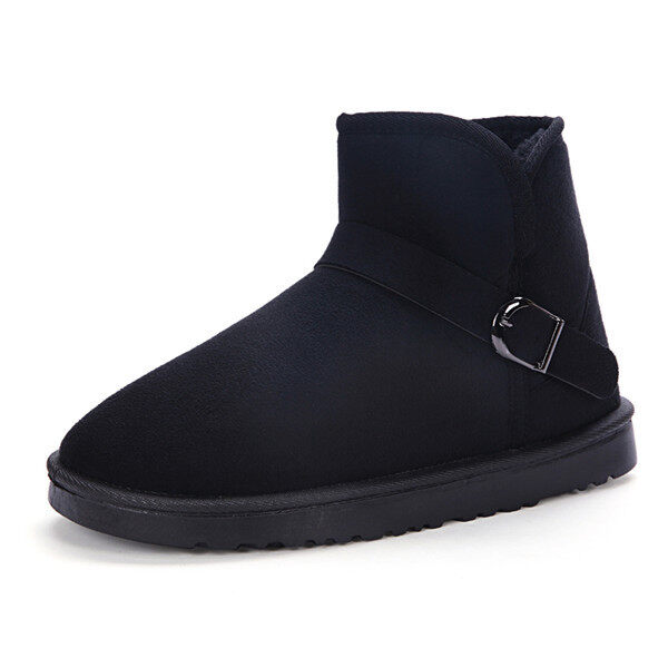 2016 Winter warm Suede shoes men snow Single drum shoe boots women(Black) - intl ...