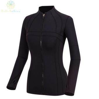 2016 Women Stand-Up Collar Deep Colour Running Basic Jackets Sports Outerwear and Coats Fitness Yoga Gym Jogging Zip Fastener = Size: M = Color: Not Specified - intl