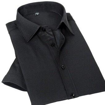 2017 Summer Men Short Sleeve Shirt Slim Fit Men's Dress Shirts Solid Color Pocket Patchwork Casual Mane Work Wear Shirts Black - intl