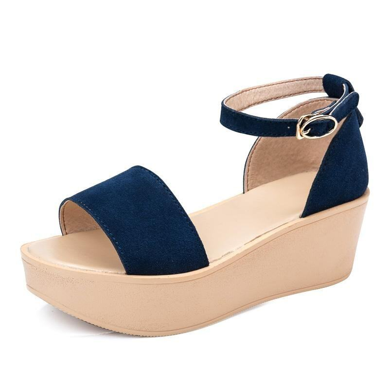 2017 Summer Women Wedges Sandals Ladies High Heels Breathable Shoes(dark blue) - intl ...