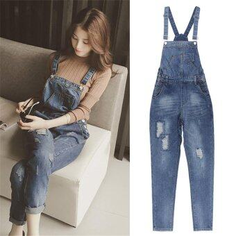 2017 Women Jeans Jumpsuit Casual Korean Vintage Slim Washed Denim Overall - intl