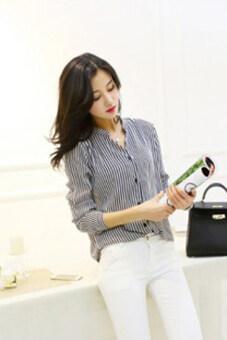 ไซเบอร์ 2559 ใหม่เสื้อสตรีเสื้อชีฟองลายไม้ผลิเสื้อลำลองแขนเสื้อเชิ้ตแบบผู้หญิง Blusas (น้ำเงิน)
