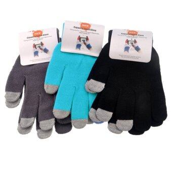 3-Finger Capacitive Touch Screen Knitted Gloves for iPad /iPhone - 3 pair Set Black/Blue/Grey
