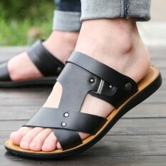 ลื่นใหม่เกาหลีรองเท้าแตะรองเท้าแตะ (6609 สีดำ) ราคา 500 บาท(-63%)