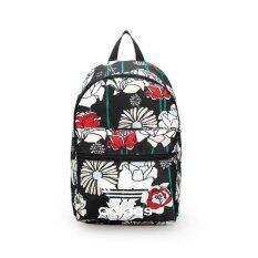 ADIDAS กระเป๋าเป้แฟชั่นผ้าโพลีเอสเตอร์หนาพิมพ์ลายดอกไม้(สีดำ)