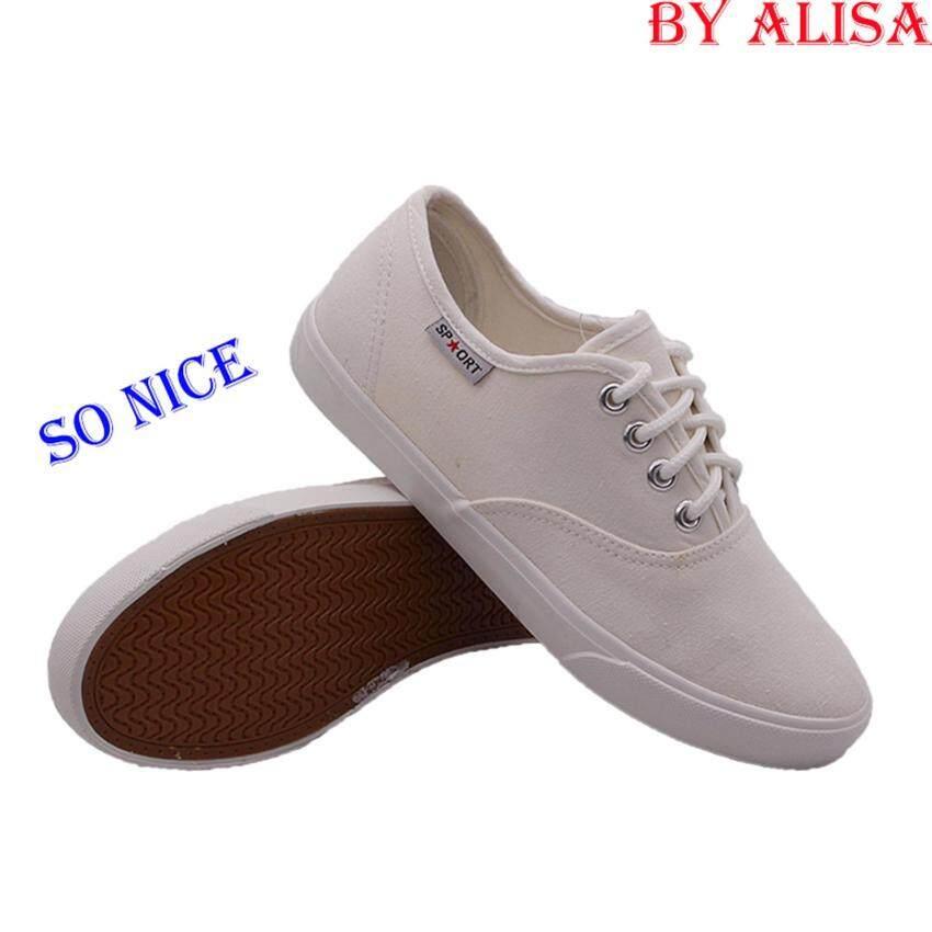 Alisa Shoes รองเท้าผ้าใบแฟชั่น รุ่น 2655 White ...