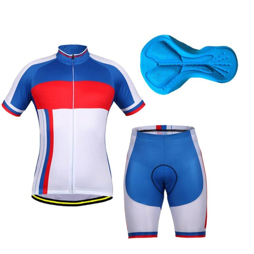 Allwin NFS-313 Silica Gel Cushion Cycling Clothing Sets Short Sleeves Breathable Blue & White - intl