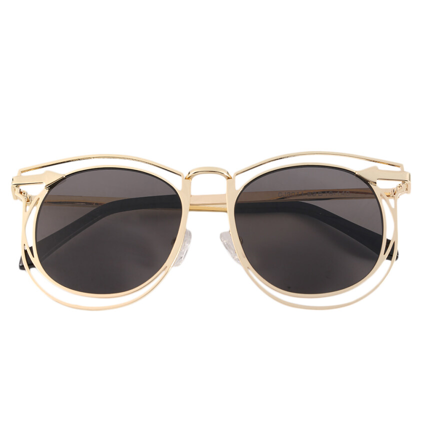 Allwin Women's Double Metal Frame with Arrow Colorful Round Lens UV400 Sunglasses golden frame grey lens - intl