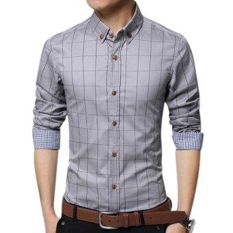 Amart Men's Long Sleeve Shirt Plaid Shirts Cotton TopClothing(Grey) - intl