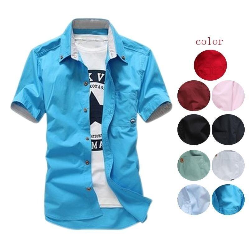 Amart Summer Men Casual Shirts Short Sleeves Mushroom Embroidery Fashion Tops (Red) - intl · >>>>