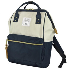 ANELLO CLASSIC CANVAS POLYESTER BACKPACK (NAVY WHITE)