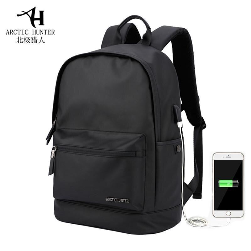 ARCTIC HUNTER Waterproof Wear-resistant Oxford 14-Inch Laptop Backpack with USB Charging Port Fashion Travel Bag School Bag (Black) - intl
