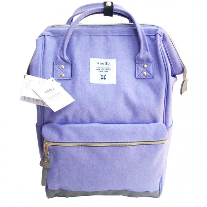 Authentic Anello Japan Imported Canvas Unisex Multicolor Backpack - Grey