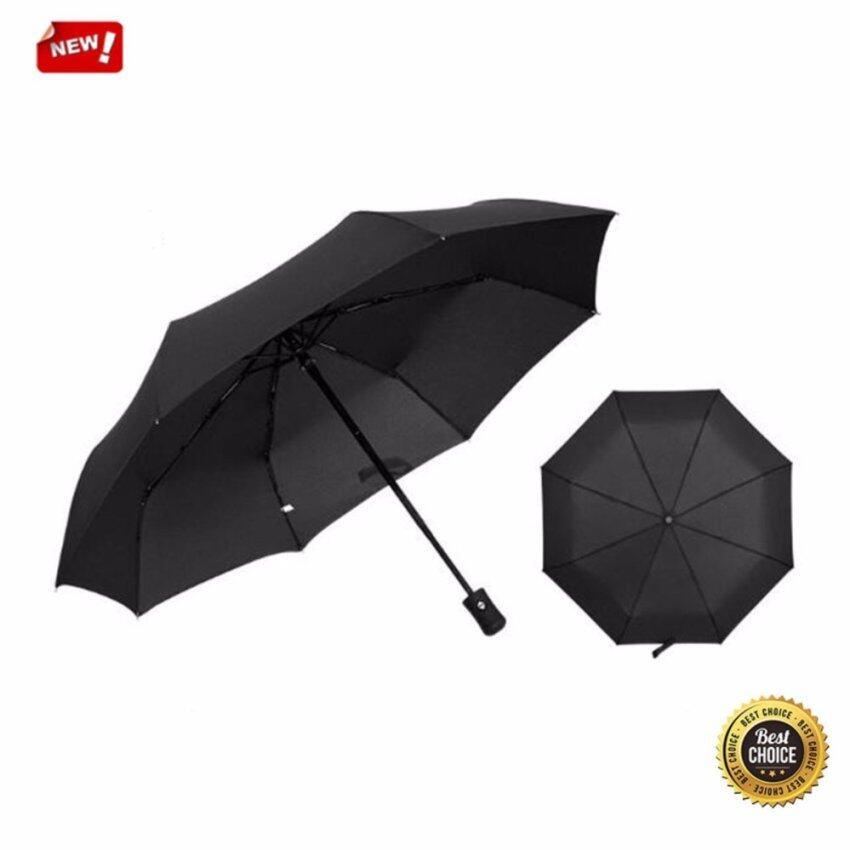 Automatic Travel Umbrella Auto Open Close Waterproof Windproof Compact Folding (Black) - intl