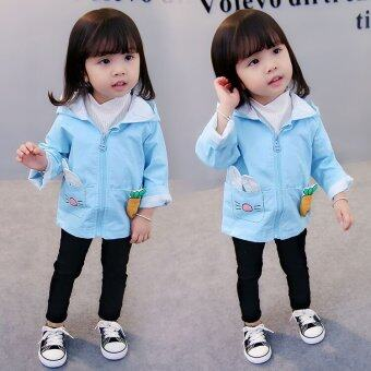 Autumn and Spring Kids Wear Clothes Baby Toddler Girl 0-4 Years Old Rabbit Bunny Ear Carrot Pocket Windbreaker Trench Jacket Rabbit Face Cardigan - intl