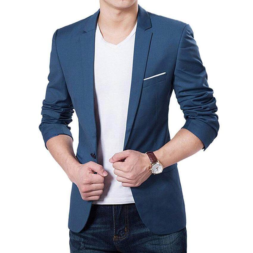 Autumn Clothing Men Costume Jacket Casaco Blazer Cardigan Wedding Suits Jackets (Navy Bl ...