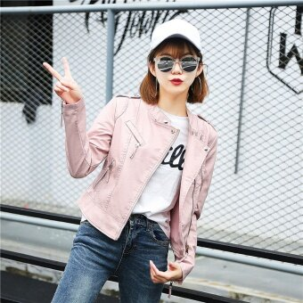 Autumn New Womens Motorcycle Slim Short Lapel Jacket Leather Fashion PU Leather Pink - intl