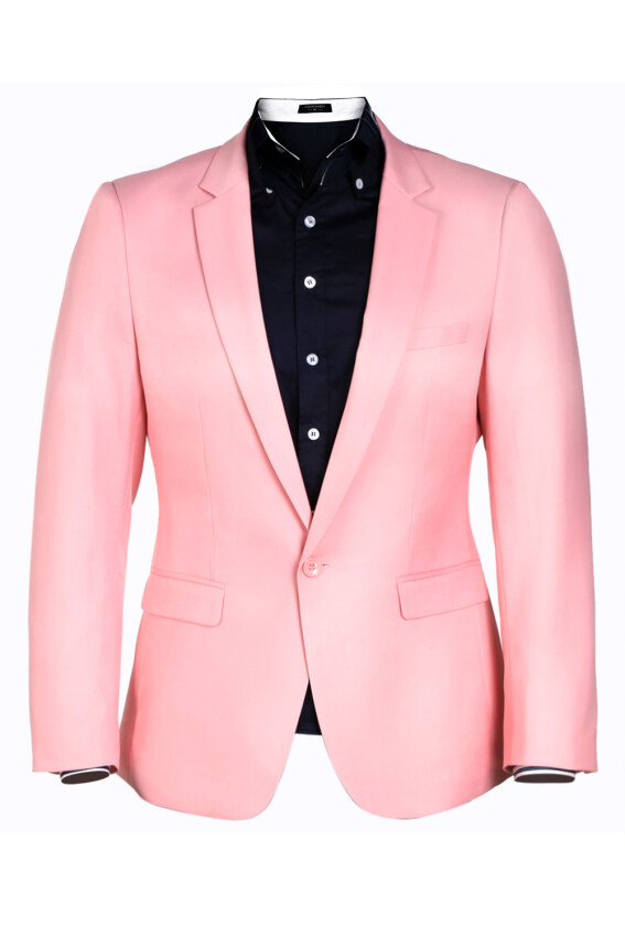 Azone Men Casual One Button Fit Blazer (Pink) - intl ...