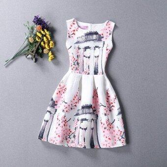 Baby Kids Children's Girl Peach Blossom Vest Skirt Princess Dress - intl