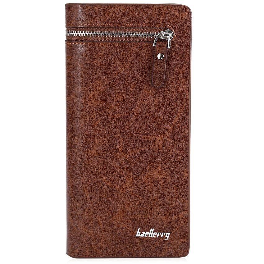 Baellerry Hasp and Zipper Long Wallet Leather Credit Card BifoldPurse for Men - intl .