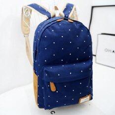 Bag Fashion กระเป๋าเป้ สะพายหลังผู้หญิง แนวอินดี้ รุ่น15 (สีน้ำเงิน)