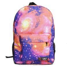Bag Fashion กระเป๋าเป้สะพายหลัง กระเป๋าลายกราฟฟิก ฟรุ้งฟริ้ง รุ่น666 (สีชมพู)