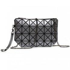 Bag Fashion กระเป๋าสะพายข้าง กระเป๋าถือ กระเป๋าลายพีรมิด รุ่น 006 (สีเทา)