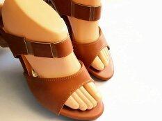 Big size รองเท้าแฟชั่นไซส์พิเศษลาย2ตอน Nor9009_สีแทน
