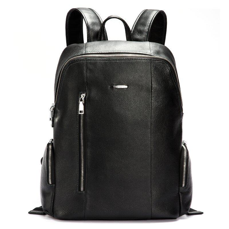 Bostanten Men's Genuine Cowhide Leather Big Backpack Black + Free Leather Keychain