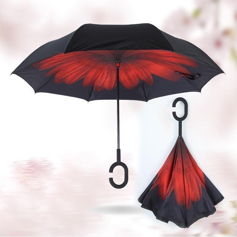Car Not Wet Umbrella Double Reverse Windproof Umbrella Reverse Umbrella - intl