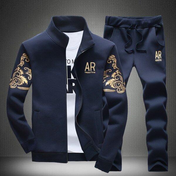 Casual Mens Fashion Tracksuits Sweatshirts Jackets+Pants(Navy) - intl