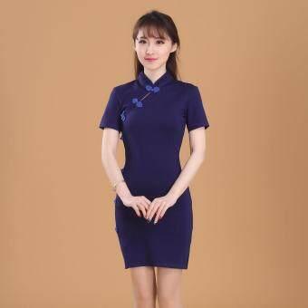 สง่างามยืดผ้าฝ้ายใหม่ชุด cheongsam (สีฟ้า)
