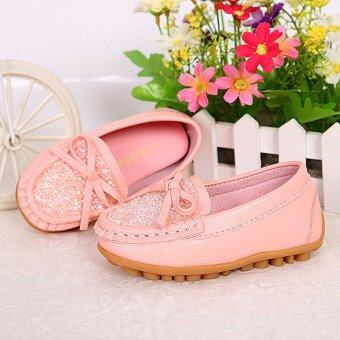 Children's Diamond Princess Leather Shoes Factory Direct Sale-pink - intl