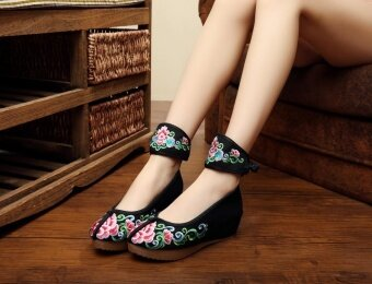 Chinese National Wind Embroidered Shoes Slope with High-heeled Shoes Feet Tied(Black) - intl