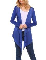 Clearance Sale Women Casual Front Open Asymmetrical Hem Chiffon Patchwork Sexy Cardigan (ultrmamrine Blue) - Intl ราคา 400 บาท(-45%)