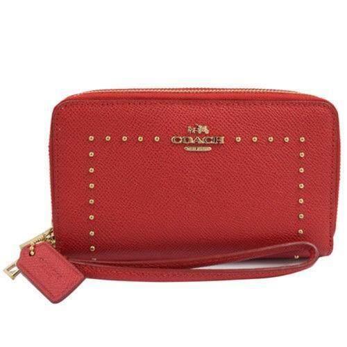 Coach 53812 Edge Stud Double Zip Phone Wallet (True Red)