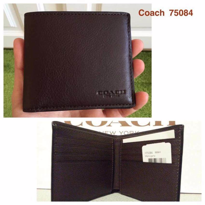 dea2009501 Coach 75084 Double Billfold Sport Calf Leather Wallet Mahogany.