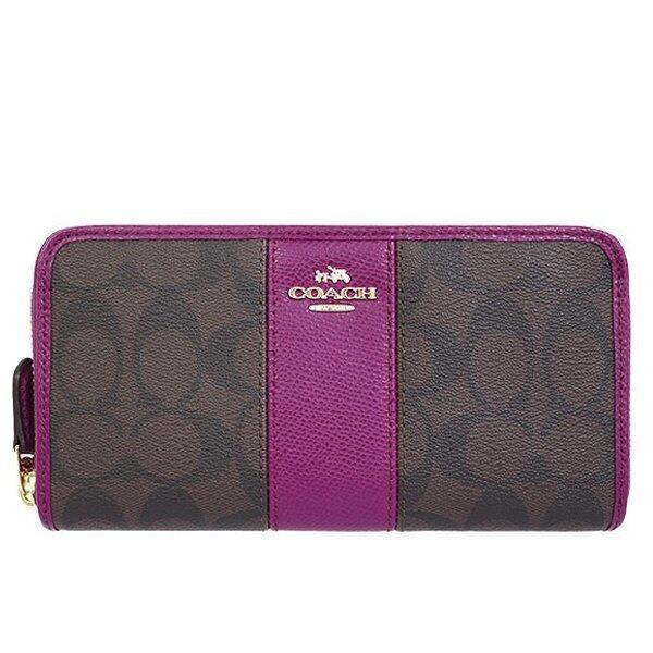 COACH กระเป๋า ACCORDION ZIP WALLET IN SIGNATURE COATED CANVAS WITH LEATHER STRIPE F54630 IMDGK(IM/BROWN/FUCHSIA)