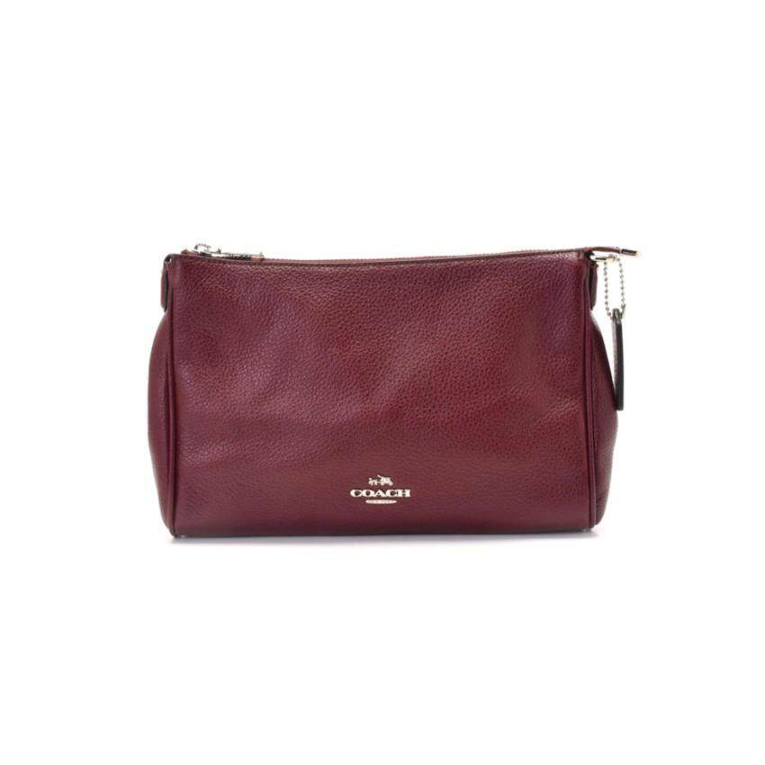 COACH F36666 กระเป๋า CARRIE CROSSBODY IN PEBBLE LEATHER F36666 (SV/BURGUNDY)