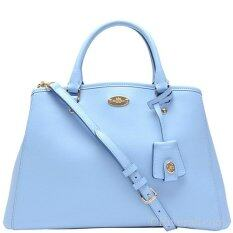 COACH MARGOT CARRYALL IN CROSSGRAIN LEATHER LIGHT GOLD/PALE BLUE