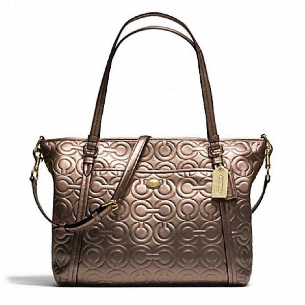 Coach Peyton Optic Embossed Leather Pocket Tote Handbag รุ่น 26038 - Bronze