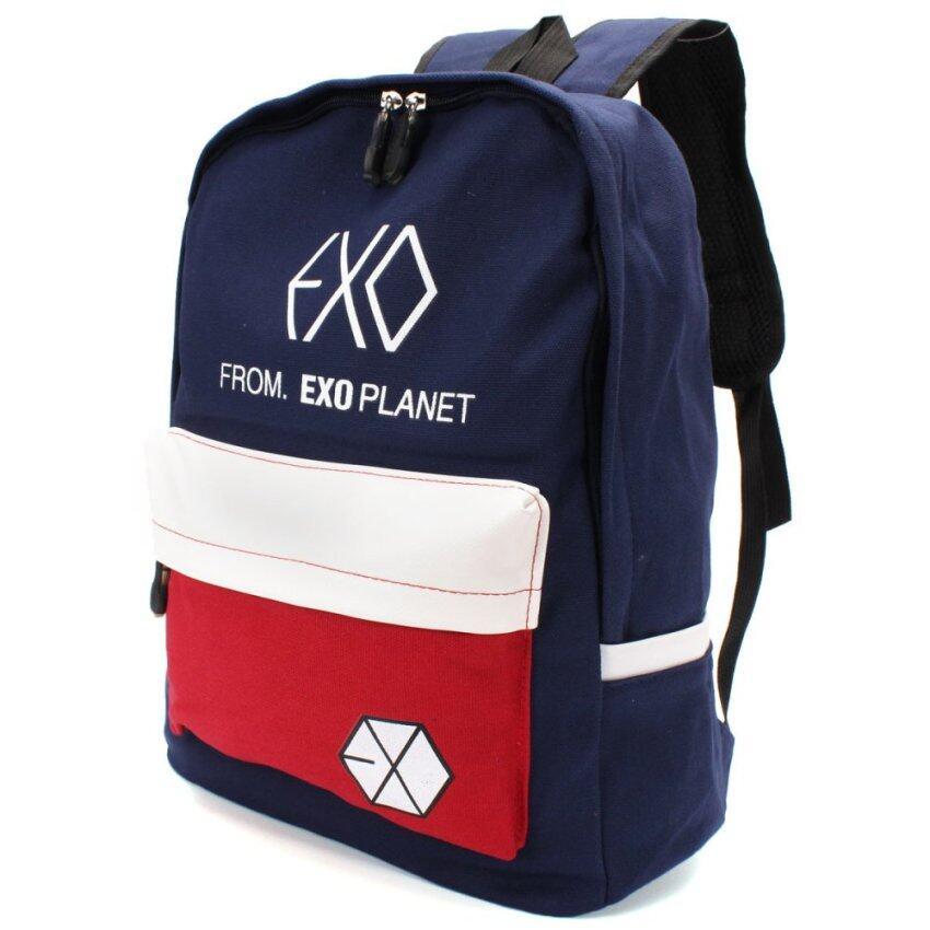 กระเป๋า กระเป๋าเป้สะพายหลังผู้ชาย Colorful Canvas Backpack Outdoor Travel Schoolbag Bookbag Rucksack Girl Boy Design Men Women Student Mochila EXO Bag black